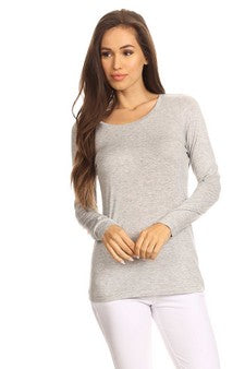Heather Gray Long Sleeve Crew-Neck Top