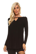 New!  Black Long Sleeve Keyhole Tunic