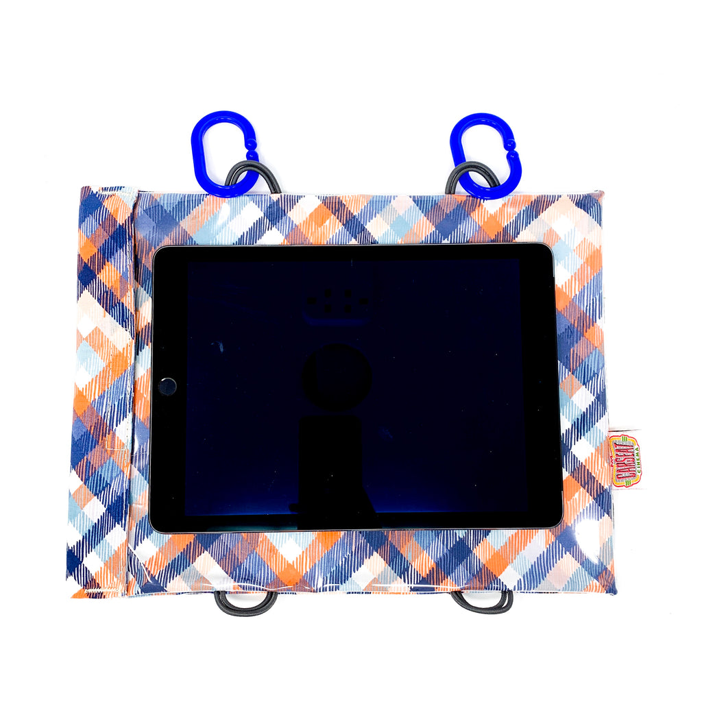 Coral Navy Plaid Tablet Case