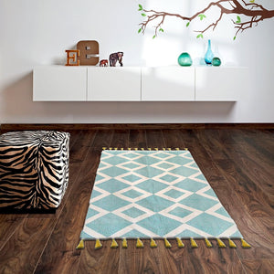 Biloxi White Striped Kilims Rugs
