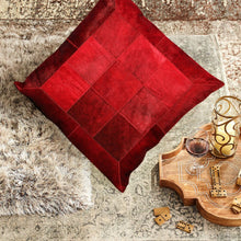 Designer Red Hairon Leather Cushion Cover
