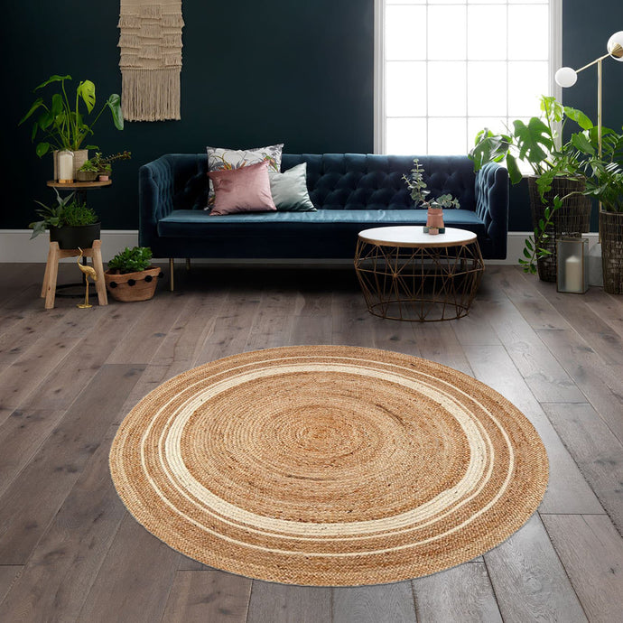 Ampy White & Natural Jute Rugs