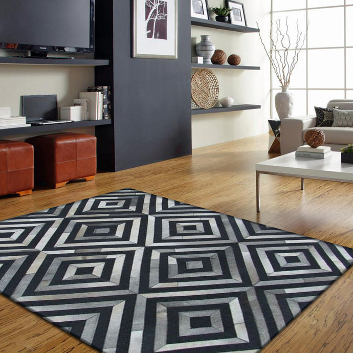 Zyrex Grey&Black Hair on Leather Hides Rugs