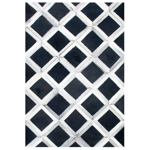 Blaze White&Black Hair On Leather Area Rugs