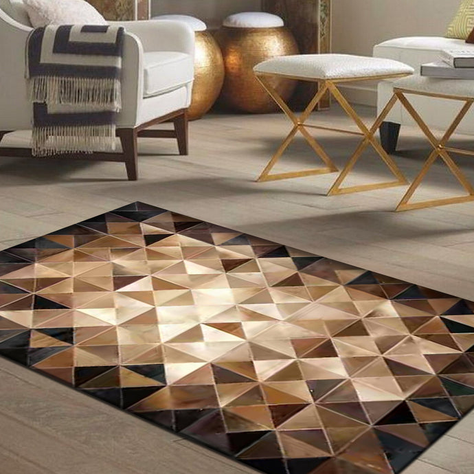 Gristle Brown Luxury Hair on Leather Hides Rugs