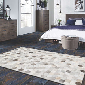 Fluora Designer Natural Hair on Leather hide Rugs