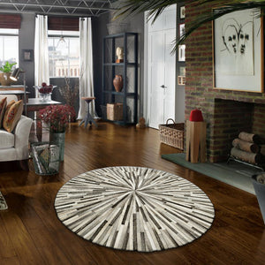 Ostelle Hair on Leather Round Rugs