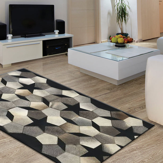 Seensil Luxary Black Hair on Leather Hides Rugs