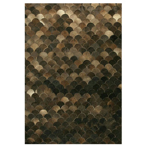 Curvy Brown Hair on Leather hide Rugs