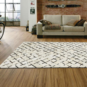 Off White Leather Rug