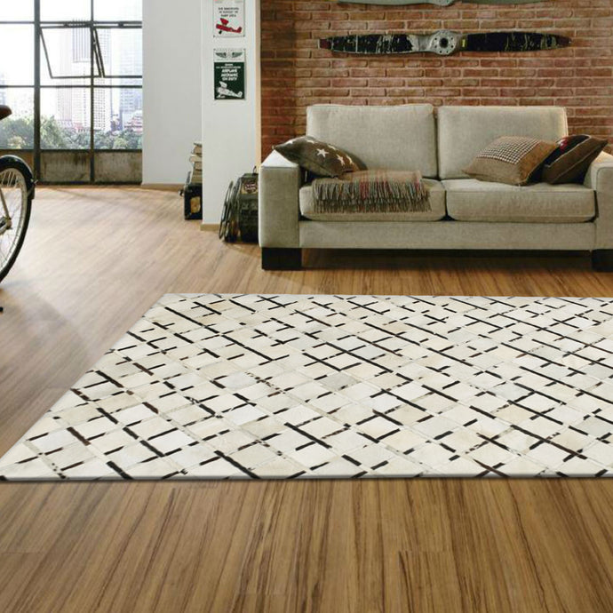 Magnet Black off White  Hair on Leather Rugs