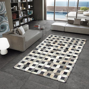 Teflon Black Natural Hair on Leather Hide Rugs