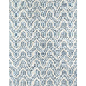 Cassey White & Lite Blue Wool Area Rugs