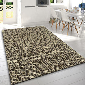 Haxed Grey White Wool Designer Rugs