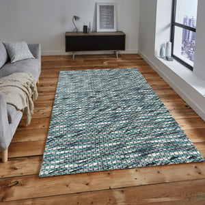 Layne Blue White Wool Area Carpets