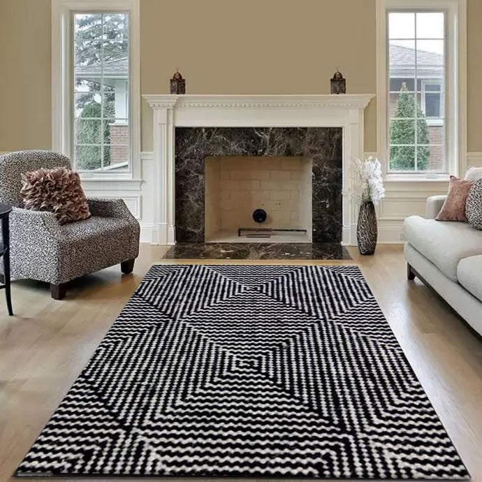 Black & White Wool Rug