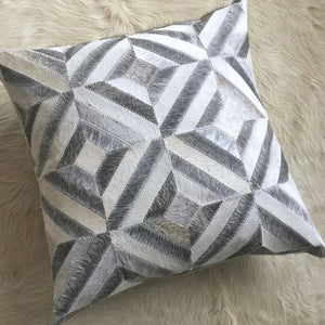 Agro Grey Hair On Leather Cushion Covers