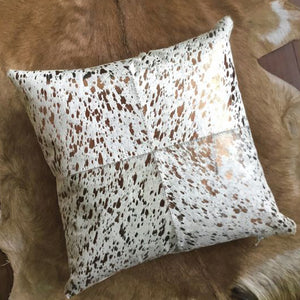 Beem Gold Hair On Leather Pillow Cover