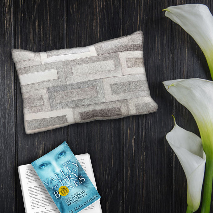 Flosty Hair On Leather Throw Pillow Cover