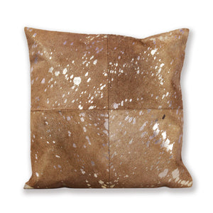 Beige and Silver Hair On Leather Cushion Cover