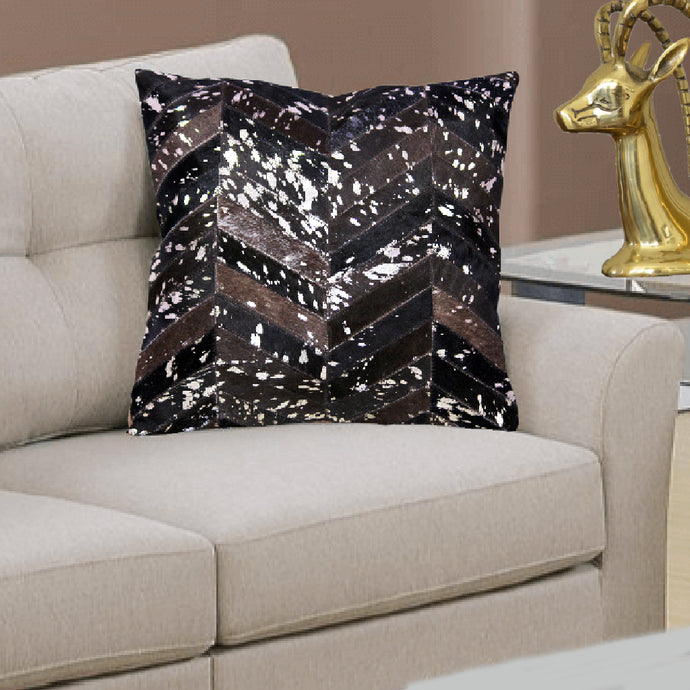 Black and Silver Hair On Leather Cushion Covers