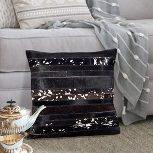 Black and Silver Hair On Leather Pillow Cover