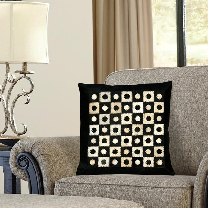 Black and White Hairon Leather Cushion Covers