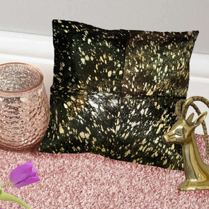 Chocolate and Gold Hairon Leather Cushion Covers