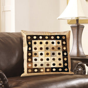 Designer Beige & Tan Hair On LeatherCushion Cover