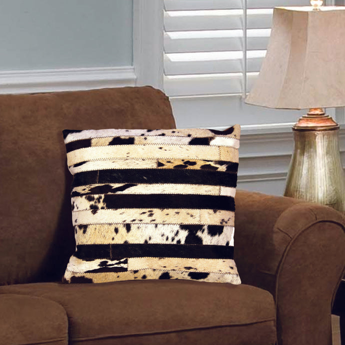 Designer Chocolate and White Hair On Leather Pillow Cover