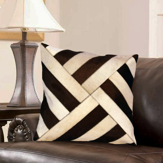 Designer Tan and White  Hair On Leather Cushion Cover
