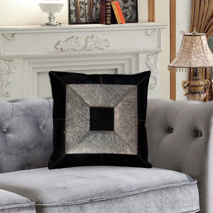 Grey and Black Hairon LeatherCushion Covers