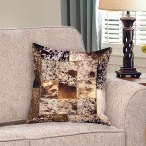 Luxury Brown and White Hairon Leather Cushion Covers