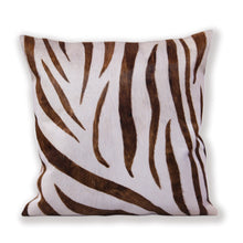 Zebra Hair On Leather  Cushion Cover