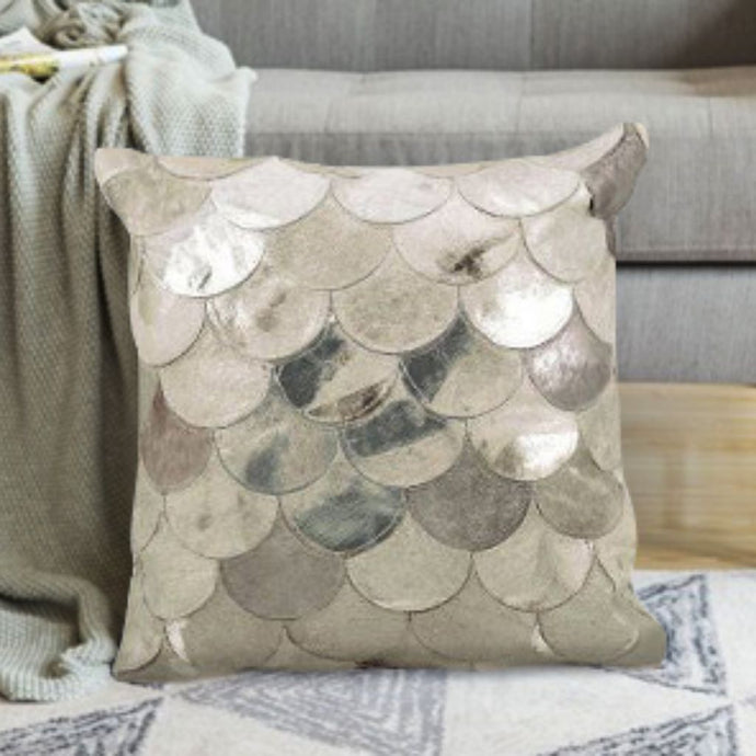 Premium Grey Hairon Leather Cushion Cover