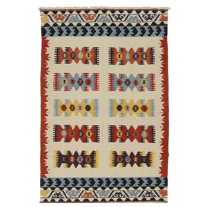 Multicolor Handknotted Kilim Area Carpet