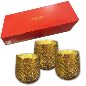 Aaravi Gold Glass Votive Set of 3