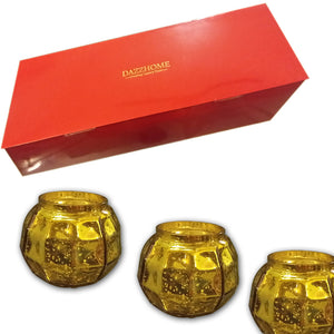 Nyra Gold Glass Votive Set of 3