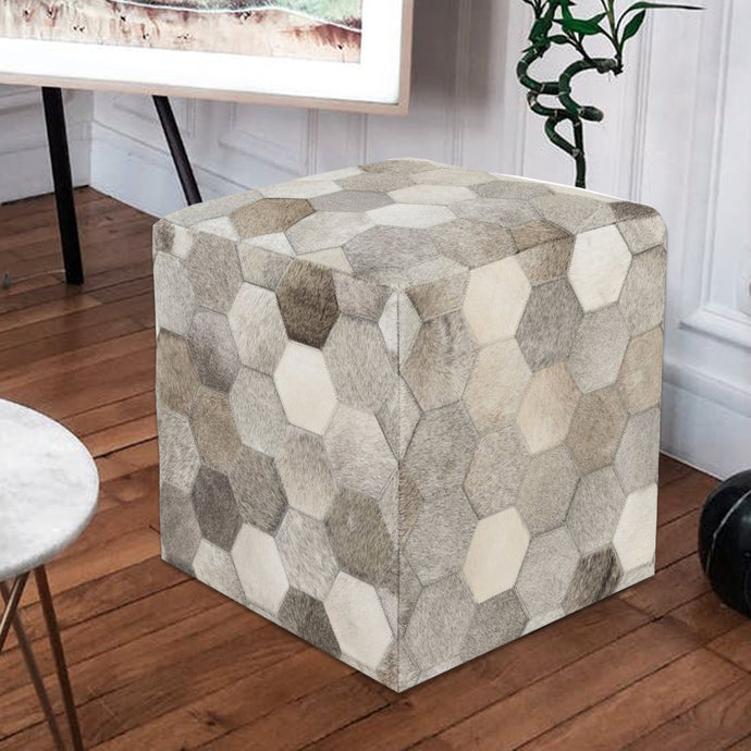 Abby Grey Luxury Leather Ottoman