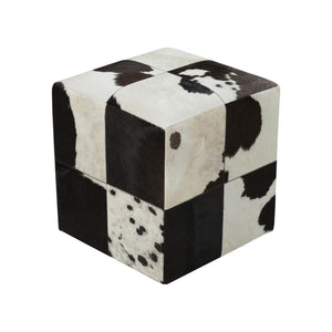 Blackly Black & White Leather Ottoman