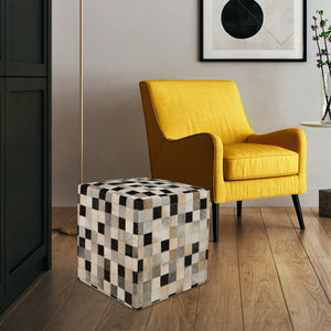 Caddy Mulit Hair On Leather Ottoman