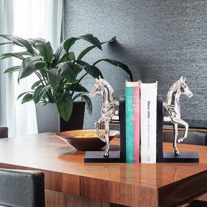 Silver Galloping Horse Bookend