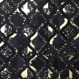 Black With Gold Foil Designer Hairon Leather Carpet