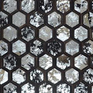 Silver Foil Black Strips Hairon Leather Carpet