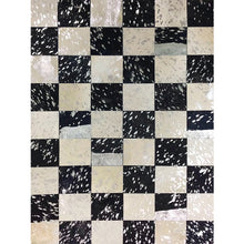 Black And Ivory Silver Foil Hairon Leather Carpet