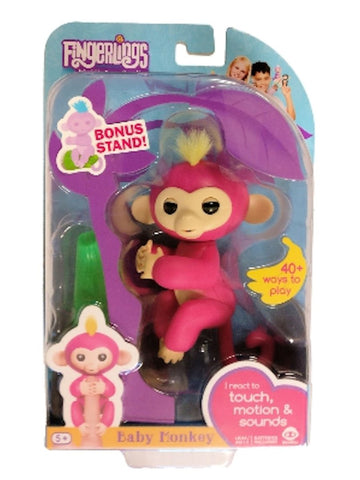 Fingerlings Baby Monkey - Bella - Pink (Includes Bonus Stand)