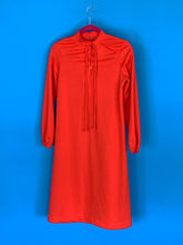 Orange Polyester dress with Belt and buttons down front