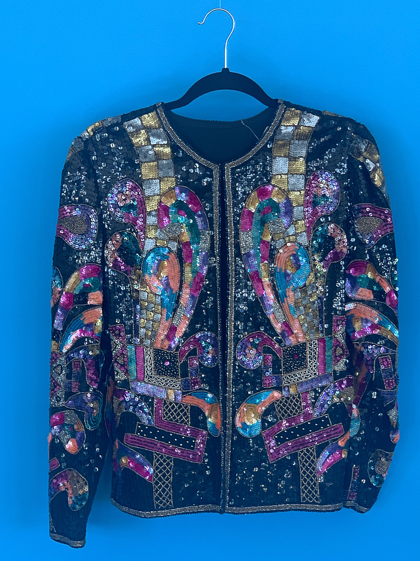 Blanche- 1990s Multicolored Sequin Jacket