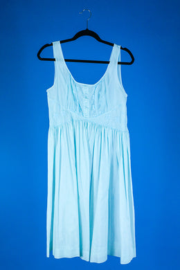Mary- 1960s Vintage Blue Cotton Short Nightgown L