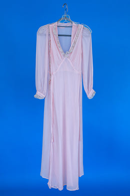 Ava - 1930s Vintage Pink Silk Lingerie Nightgown Robe Peignoir